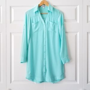 Express Portofino Shirt Dress Seafoam Green | XS